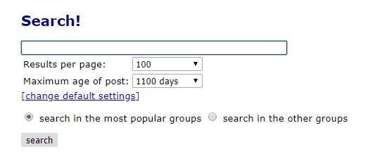 Binsearch Suchmaschine Eingabefelder